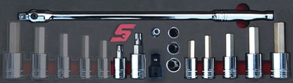 """Picture of MOD.147SH45SF - 1/2"""" Hex Skt Drivers; Torx Skts and Breaker Bar - 13Pc - Imperial"""