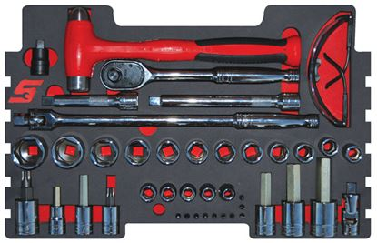 """Picture of MOD.274SR43F 1/2"""" Drive Socket and Accessory Plus Hammer Set 43pc for KMC All Weather Top Chest"""