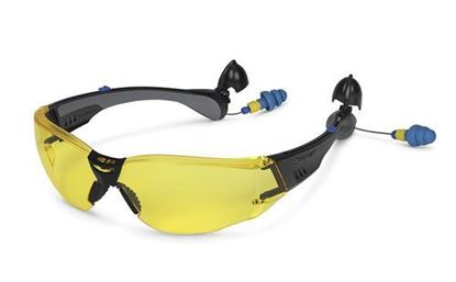 Picture of GLASS70BYEAR - Safety Glasses Attached Ear Plugs Yellow Lens
