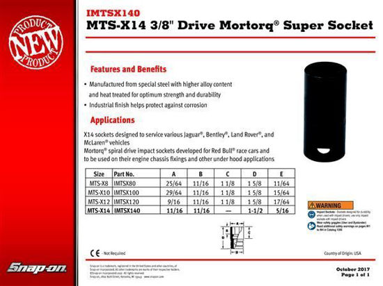 "Picture of IMTSX140 MTS-X14 3/8"" Drive Mortorq® Super Socket"