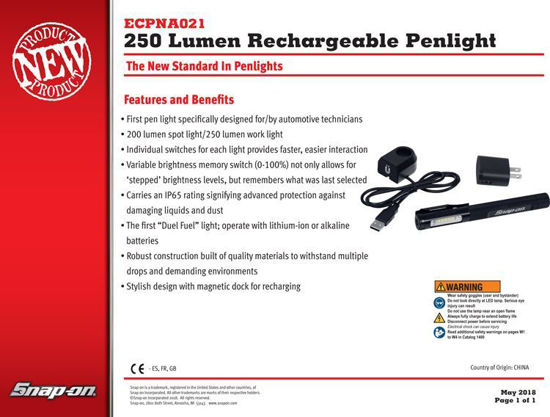 Picture of ECPNA021 Penlight Rechargeable