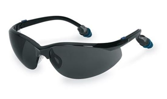 Picture of GLASS40GEAR - Safety Glasses Attached Ear Plugs Grey Lens