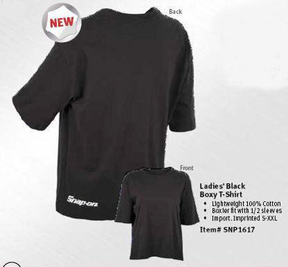 Picture of  SNP1617-L - Ladies Black Boxy T-Shirt L