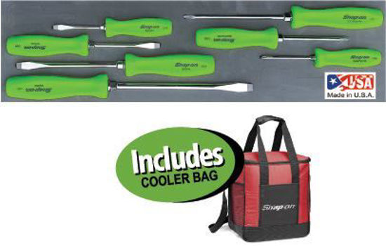 Picture of  XXDEC214 - Screwdriver Green Handles Set in Foam includes Cool Bag