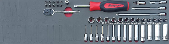 """Picture of MOD.149SH45SM-X - 1/4"""" General Service Set with FDX Sockets; 44Pc - Metric"""