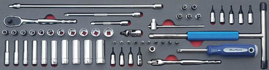 """Picture of MOD.897SH45SM - 1/4"""" General Service Set with Turbo T-Speeder; 55Pc - Metric"""