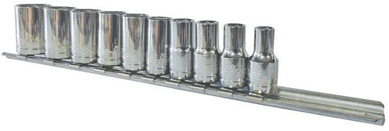 """Picture of BLPS14SET10Y-WO - 1/4"""" 6Pt Shallow Socket Set 3/16-9/16""""; 10Pc - Imperial"""