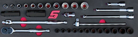 """Picture of MOD.150SH45SF-X - 3/8"""" General Service Set with FDX Sockets; 18Pc - Imperial"""