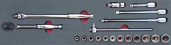 """Picture of MOD.150SH45SM-X - 3/8"""" General Service Set with FDX Sockets; 19Pc - Metric"""