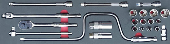 """Picture of MOD.733SH45SM - 3/8"""" General Service Set with Speeder; 22Pc - Metric"""