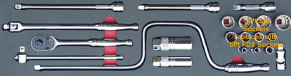 """Picture of MOD.733SH45SM-X - 3/8"""" General Service Set with Speeder and FDX Sockets; 22Pc - Metric"""