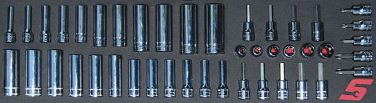 """Picture of MOD.151SH45SC-X - 3/8"""" Torx and FDX Deep Socket Set; 43Pc - Metric and Imperial"""