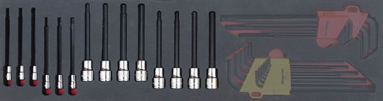 """Picture of MOD.715SH45S14 - 3/8"""" Long Hex Bit Socket Set; 14Pc - Metric and Imperial"""