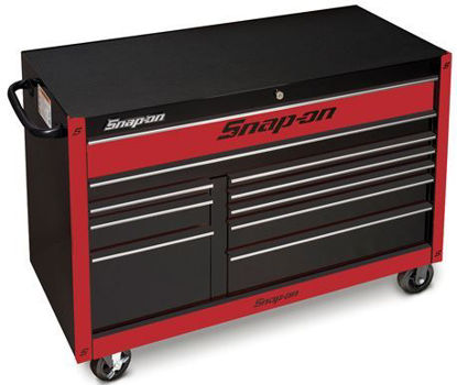 """Picture of KRA2422PCZR-WO - Classic Series - 55"""" X-Wide Double Bank 10 Drw Roll Cabinet; Black with Chrome Alu trims and Red Fronts"""