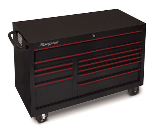 """Picture of KRA2422PLU - Classic Series - 55"""" X-Wide Double Bank 10 Drw Roll Cabinet; Black with Red Alu trims"""