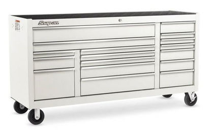 """Picture of KRA2423PU - Classic Series - XX-Wide 73"""" Triple-Bank 17Drw Roll Cabinet; White with Chrome Alu Trims"""