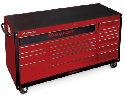 """Picture of KRA2423PBOZB-WO - Classic Series - XX-Wide 73"""" Triple Bank 17Drw Roll Cabinet; Red with Chrome Alu Trims and Black Fronts"""