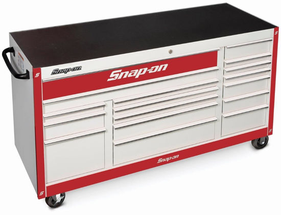 """Picture of KRA2423PUZR-WO - Classic Series - XX-Wide 73"""" Triple Bank 17Drw Roll Cabinet; White with Chrome Alu Trims and Red Fronts"""