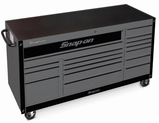 """Picture of KRA2423PWZZB-WO - Classic Series - XX-Wide 73"""" Triple Bank 17Drw Roll Cabinet; Storm Grey with Black Alu Trims and Black Fronts"""