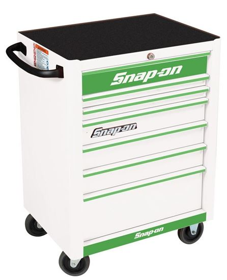 Picture of KRA2007KZUWG-G-WO - 7 Drawer Standard Roll Cabinet; White with Green Alu Trims and Green Fronts