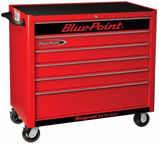 Picture of  KRB2106KZE1S-B-WO - Roll Cab Wide 6Drw Textured Red - Silver PVC Trim - Black Fronts