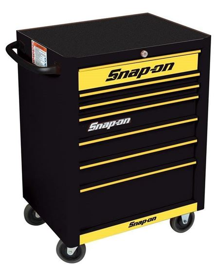 Picture of KRA2007KZUBY-Y-WO - 7 Drawer Standard Roll Cabinet; Black with Yellow Alu Trims and Yellow Fronts