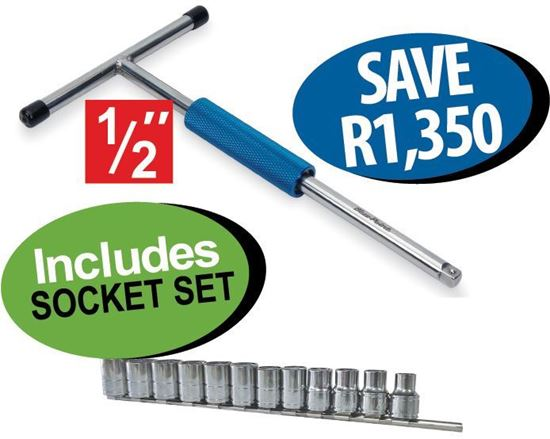 """Picture of XXJUN109 1/2""""TURBO SPEED T-handle Includes SOCKET SET (12 - 24mm)"""
