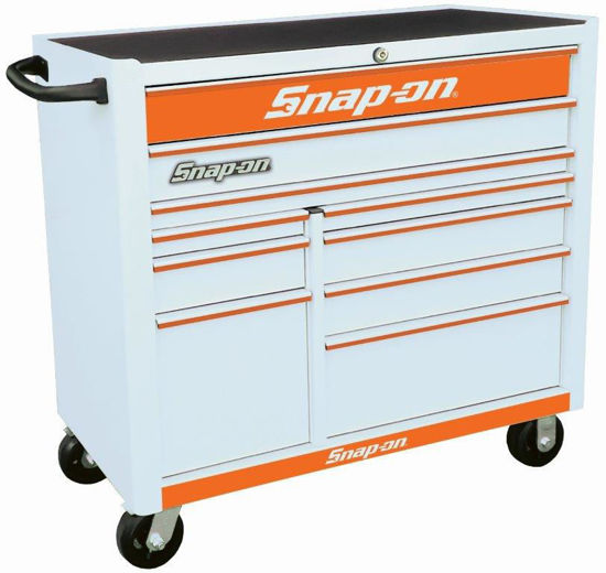 Picture of KRA2210KZUWO-O-WO - 10 Drw Wide Roll Cab White with Orange Alu Trims and Orange Fronts