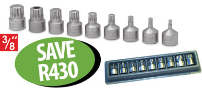 """Picture of XXJUL105 3/8"""" Triple Square Stubby Socket Driver Set (9pc)"""