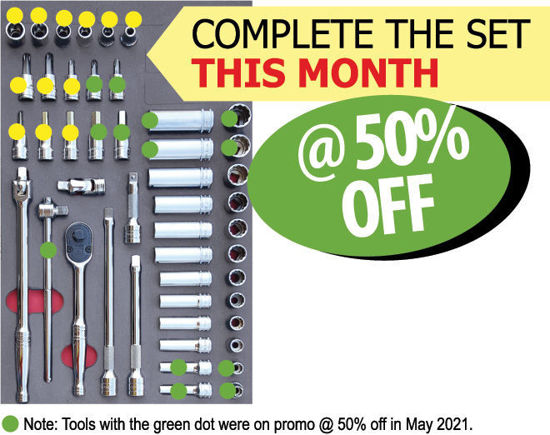"""Picture of XXJUN101 3/8"""" Skt & Accessories Set in foam Insert COMPLETE THE SET THIS MONTH"""