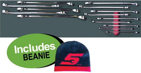"""Picture of XXJUL108 Imperial Combination Spanner Set (11pc) in Foam insert (3/8 - 1"""") includes Beanie"""