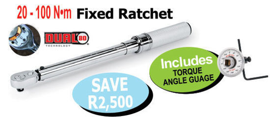"""Picture of XXOCT114 3/8"""" Click type - Mechanical Torque Wrench Includes TORQUE ANGLE GUAGE"""
