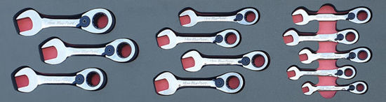 Picture of MOD.823SH45SM - 15° Offset Ratcheting Box / Open-End Short Spanner Set 8-19mm; 12Pc - Metric